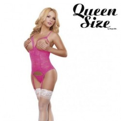 MAGIC SILK BODY ABIERTO CON LIGUEROS Y TANGA ROSA