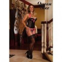 MAGIC SILK BUSTIER Y TANGA NEGRO Y ROSA