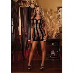 MAGIC SILK MINI VESTIDO LEDDER NEGRO