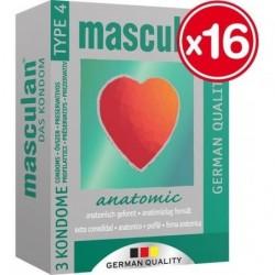 MASCULAN PRESERVATIVOS ANATOMICOS 3 UDS (16 CAJAS)