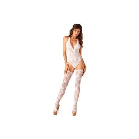 LEG AVENUE BODY ESCOTE V CON MEDIAS BLANCO
