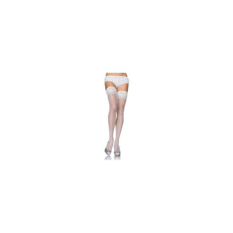 medias blancas con encaje superior talla plus
